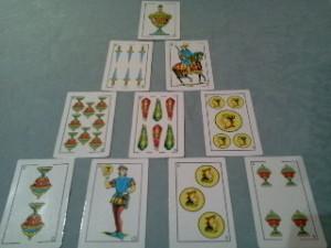lectura de cartas con baraja española, la pirámide